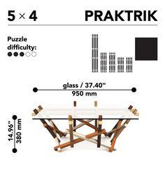 Mesa de centro Puzzle cuadrada de madera de 5 x 4 por PRAKTRIK