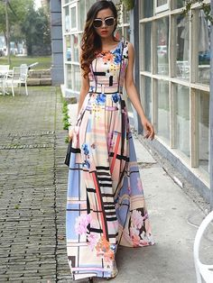 Round Neck Sleeveless Contrast Color Dress #Dress