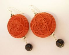 Red Cinnabar Earrings Black Onyx Bali Silver by MagnoliaStudio, $29.00