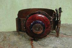 Copper & Coral Cuff Bracelet Metalsmith by SilverSeahorseDesign, $65.00