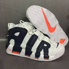 554b8ae554 2018 Real Nike Air More Uptempo Knicks aka The Dunk White Deep Royal  Blue-Team Orange
