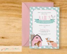 Farm & Farm Animal - Girl Birthday Party Invitation by PaperclutchShop