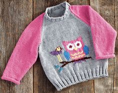 Mary Maxim - Owl Pullover Sizes - Children's Sweaters - Sweaters - Knit & Crochet The perfect pullover for your little owl lover. Knitting For Kids, Baby Knitting Patterns, Baby Patterns, Girls Sweaters, Baby Sweaters, Pull Bebe, Baby Cardigan, Pulls, Knit Crochet