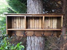 Coastal Oak Designs | Rustic Decor Coat Rack With Cubby Shelf