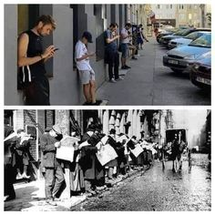 Old days vs nowadays - iphone, humor, newspaper, smartphone, men Old Pictures, Best Funny Pictures, Get Off Your Phone, Fresh Memes, Decir No, Haha, Photo Wall, Smartphone, Shit Happens