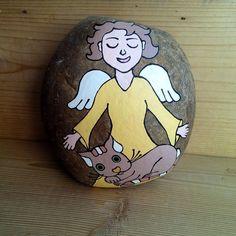 Velký malovaný kámen - Andělka s kočičkou. / Prodané zboží prodejce Kocourkov - obrázky. | Fler.cz