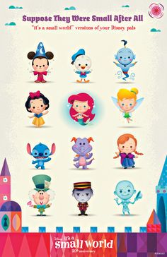 "Disney characters as ""it's a small world"" dolls! Sorcerer Mickey, Donald Duck, Genie, Snow White, The Little Mermaid, Tinker Bell, Stitch, Figment, Princess Anna from Frozen, the Mad Hatter, Tower of Terror, The Haunted Mansion! #WaltDisneyWorld #vacation"