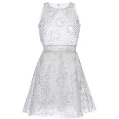 Luisa Beccaria     Tulle Lurex Pois Mini Dress ($3,130) ❤ liked on Polyvore featuring dresses, luisa beccaria, nude, white mini skirt, a line dress, short white cocktail dress, short tulle dress and short pleated skirt