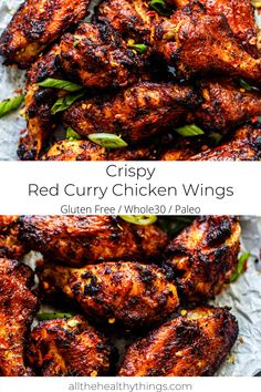 Red Curry Chicken Wings full of delicious red curry flavor and so easy to make. These wings are perfectly crispy without being fried. This recipe is compliant, Paleo friendly, and Keto friendly. Dairy Free Recipes Easy, Easy Whole 30 Recipes, Good Healthy Recipes, Gluten Free, Teriyaki Chicken Wings, Chicken Drumsticks, Whole30 Recipes Lunch, Whole30 Pizza, Keto Recipes