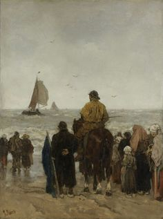 Arrival of the Boats, Jacob Maris, Rijksmuseum Canvas Paper, Oil On Canvas, Canvas Art, Mondrian, Boat Art, Dutch Painters, Dutch Artists, Illustrations, Van Gogh