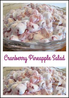Cranberry Pineapple Salad with whipped cream, pecans and marshmallows From: My Turn For Us, please visit Cranberry Walnut Salad, Cranberry Recipes, Cranberry Fluff, Jello Recipes, Fruit Salad Recipes, Fruit Salads, Jello Salads, Easy Recipes, Fruit