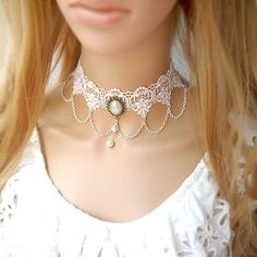 Porcelain Gothic Vintage White Flower Lace Necklace With Filigree Pearl Pendant  And White Tassel Chain Choker