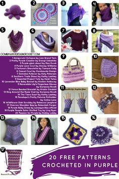 20 Free Patterns Crocheted in Purple Yarn! Which one will you crochet first?