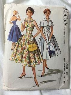 McCalls 3688 Halter Dress 1950s Summer Dress Vintage Sewing Pattern Bust 36 by EmSewCrazy on Etsy