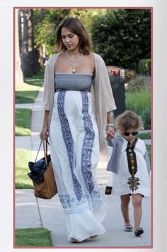 Buy it: Jessica Alba's Strapless Embroidered Maxi Dress and Studded Bag