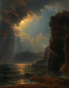 Johann Nepomuk Schödlberger (1779-1853) - Rocky coast in the moonlight, oil on…