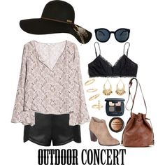 Outdoor Concert by thestylelookout on Polyvore featuring MANGO, Ally Fashion, Madewell, Billini, BP., Charlotte Russe, Billabong, Bare Escentuals, LORAC and outdoorconcert