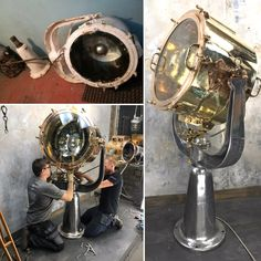 British Brass & Aluminium Maritime Searchlight by Rotherhams Industrial Floor Lamps, Industrial Lighting, Vintage Lighting, Modern Lighting, Steampunk Machines, Study Office, Modern Interior, Interior Design, Vintage Industrial