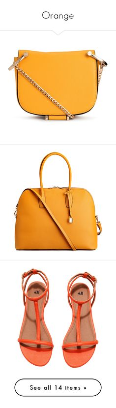 """""""Orange"""" by lizf99 ❤ liked on Polyvore featuring bags, handbags, shoulder bags, h&m, orange purse, shoulder bag purse, chain handle handbags, shoulder bag handbag, orange handbags and zip purse"""