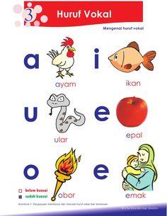 2.petua asas membaca Kindergarten Reading Activities, Preschool Writing, Phonics Activities, Kindergarten Worksheets, Learning Letters, Kids Reading, Kids Education, Malay Language, Indonesian Language