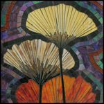 Ginko Leaves  Small mosaic art featured in Raven Rocks Gallery, Whidbey Island, WA