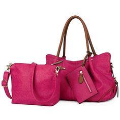 Women Handbag Set 3 Pieces Bag PU Leather Tote Small Shoulder Purse Bags  Wallet  UTO  CosmeticBagCrossbodyShoulderBag 12a8bec172436