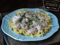 Slow Cooker Beef Stroganoff - Once A Month Meals - Freezer Friendly - Crockpot meals - Easy dinners