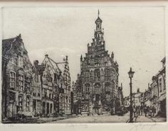 Jan van Rijsewijk (1954) 'Stadhuis Culemborg' Techniek: ets