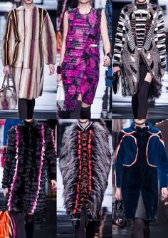 Milan Fashion Week-Fendi A/W 2013/14-  Neon Stripe Accents – Sculptural and Fringed Raffias – Camouflage Boldness – Fur Cut and Sculpted – Primitivism Meets Futurism – Techno Aztecs – New Wave 80′s and Punk Spirit