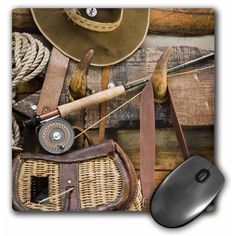 Fishing gear and hat, log cabin - - Jaynes Gallery Mouse Pad 8 inch x 8 inch x inch and is made of heavy-duty recycled rubber. Matte finish image will not fade or peel. Machine washable using a mild detergent and air dry. Size: 8 in. Diy Log Cabin, Log Cabin Kits, Log Cabins, Log Cabin Exterior, Crazy Life, Crazy Crazy, Log Cabin Furniture, Recycled Rubber, Cabins In The Woods