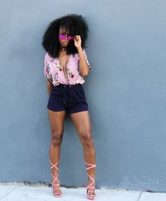 Deep Plunge Floral Garden Top with Navy Blue Shorts and Pink Suede Lola Shoetique Sandals