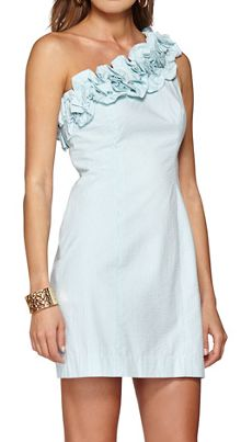 Lilly Pulitzer Vivienne One Shoulder Ruffle Shift Dress in Shorely Blue Lucky Seersucker