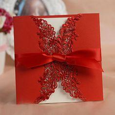 invitación de la boda recorte bastante floral con bowknot -set de 50/20 – EUR € 27.26