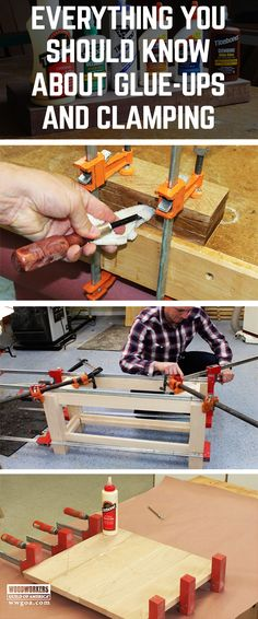 Learn How to Glue Wood Together and Use Clamps.  From panel glue ups, to slippery glue joints, edge banding with clamps and fixing furniture with glue repair, learn it all here!