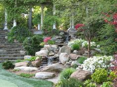 Sublime garden with waterfalls