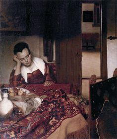 """""""A Woman Asleep (Slapend Meisje)"""" c. 1656-57,oil on canvas,The Metropolitan Museum of Art, NY. Ascribing precise iconographic meaning to a painting by Vermeer has often proved vexing,the Girl Asleep being a perfect example.In some cases even the social identity of the sitters themselves has been questioned.Although many critics have described the figure as a drunken maid,some believe that she may have been a mistress due to her refined dress.So she is young upper-class woman distraught by…"""