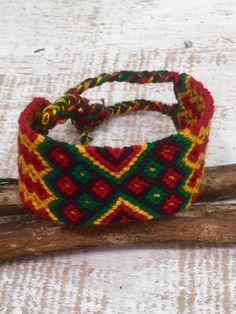 Friendship Bracelet 1 Rasta Woven Hand made Guatemalan Cotton Wide  Fair Trade