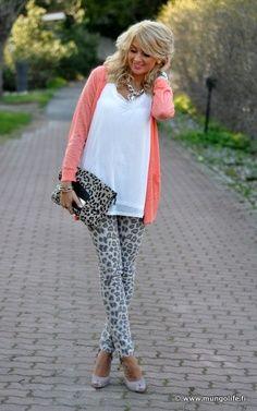 Neutral leopard print and a pretty peach/coral top