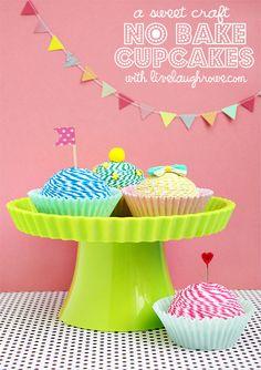 Fun and Sweet Craft No Bake Cupcakes Baking Cupcakes, Yummy Cupcakes, Craft Party, Diy Party, Party Ideas, Diy Ideas, Craft Ideas, Tea Party Table, Novelty Birthday Cakes