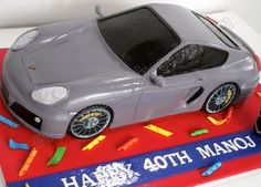 Celebrate with Cake!: Sculpted Porsche Cayman S Car Cake Car Cakes For Boys, Boy Cakes, Beautiful Cakes, Amazing Cakes, Porche Car, Car Cake Tutorial, Porsche, 40th Birthday Cakes, 3rd Birthday