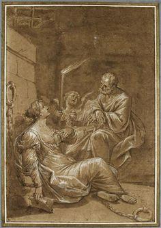Donato Creti (24 févr. 1671 - 31 janv. 1749) Saint Pierre visitant sainte Agathe dans sa prison