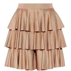 Balmain Tiered ruffled satin-bandage shorts (€1.780) ❤ liked on Polyvore featuring skirts, balmain and brown