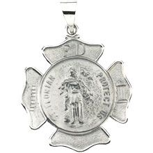 St Florian Round Fire Fighters Hollow 14 Karat White Gold Protect Us Medal - Fine Jewelry Fashion St Florian, Jewelry Gifts, Fine Jewelry, Gold Medallion, Religious Jewelry, Precious Metals, Jewelry Design, Designer Jewelry, Fashion Jewelry