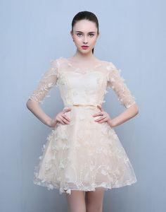 Rochie scurta ivory cu broderie Girls Dresses, Flower Girl Dresses, Formal Dresses, Wedding Dresses, Fashion, Embroidery, Dresses Of Girls, Dresses For Formal, Bride Dresses