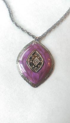 Necklace Pendant Purple Enamel Vintage Berebi by EmbracetheEarth