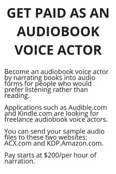 GET PAID AS AN AUDIOBOOK VOICE ACTOR - Wisdom Lives Here Work From Home Jobs, Work From Home Opportunities, Business Opportunities, Voice Actor, Make Money Online, Way To Make Money, Make Money From Home, Online Jobs, Money Tips