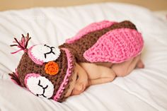 NEWBORN Crochet Owl Hat and Cape
