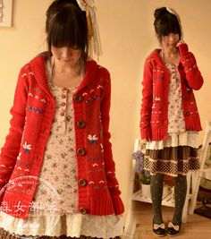 Grace Girl In autumn 2014 preppy style long sleeved sweater coat Embroidered jacket Red Grey mori girl