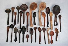 28 spoons from Nepal, Tibet, China, Algeria, Phillipines (Ifuago), and many other cultures and countries. Differing woods, ages, shapes. All old and tribally used.
