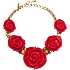Oscar de la Renta Molded Rose Necklace ShopBAZAAR ($595) ❤ liked on Polyvore